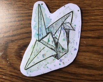 Paper Crane Vinyl Sticker, Paper Crane Laptop Sticker