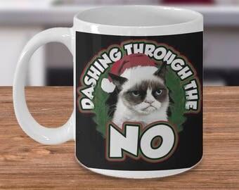 Grumpy Cat Dashing Through the NO! Mug, Grumpy cat, cat lovers mug, cat coffee mug, coffee mug, kitty mug, cat lovers gift, Grumpy Cat mug
