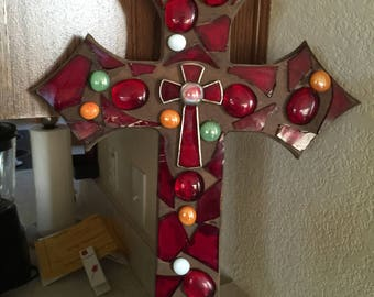 Beautiful Red stained glass and multicolor flat marble wall cross