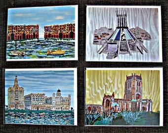 Liverpool Iconic Landmarks set of 4 Art Cards