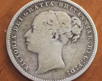 Queen Victoria 1884 Young Head one shilling coin .925 silver