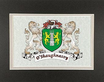 """O'Shaughnessy Irish Coat of Arms Print - Frameable 9"""" x 12"""""""