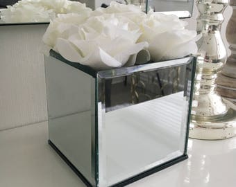 Wedding Centerpiece, Top Table, Mirrored Vases, Wedding Flowers, Wedding Decor, Home Decor, Gifts For Her, Roses