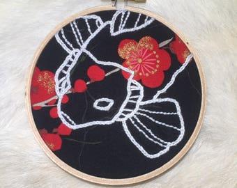 Koi embroidery hoop