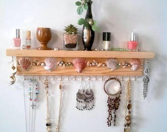 Jewelry organizer with shelf, bracelet holder, earrings display, necklace holder organizer, seashell mosaic, pearls, beautiful gift for her