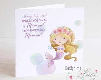 Mermaid Birthday Card - daughters sisters and nieces