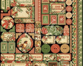 Grphic 45 - Winter Wonderland : 12 x 12 Sticker Sheet