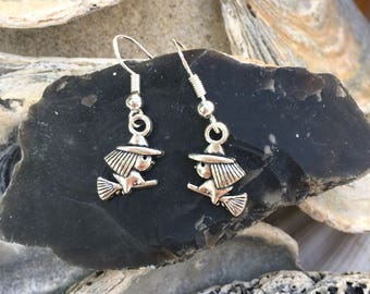 Witch on broomstick charm earrings