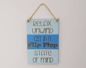 Engraved Pallet Wood Sign- Relax Unwind Get in a Flip Flop State of Mind | Rope | Beach Theme | Nautical | Coastal | Home Decor | Rustic