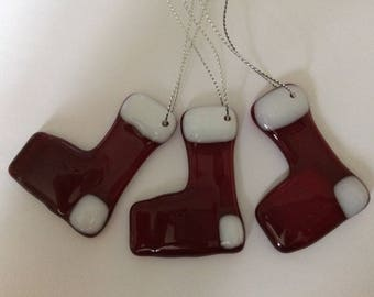 Set of three fused glass stockings