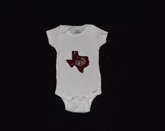 Texas a and m appliqued onesie, embroidered baby onesie, embroidered onesie, embroideried bodysuit, baby clothes, baby clothing,