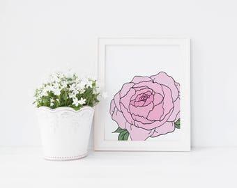 Peony, Wall Art Print, Instant Download, Printable Art, Hand Drawn, Floral Print