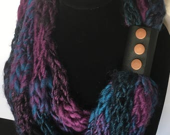 Purple, turquoise and black multi-strand scarf with cuff