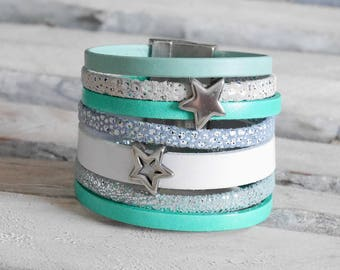 CLEARANCE leather Cuff Bracelet silver, green, mint green and light blue with silver stars loops (BR57)