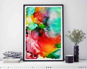 Home Art, Rainbow Art, Modern Art, Abstract Painting, Kitchen decor, Giclee Print, Wall Art