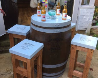 Whiskey Barrel Table and Stools