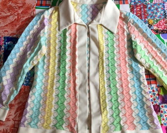 Vintage Pastel Rainbow Zigzag Long Sleeve Knit Cardigan Blazer Jacket with Collar 1970s