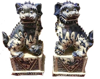 Blue and White Chinoiserie Foo Dogs