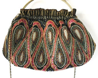 Vintage Sequin Hand Bag, Chain Strap, Vintage Sequin Beaded Clutch Purse