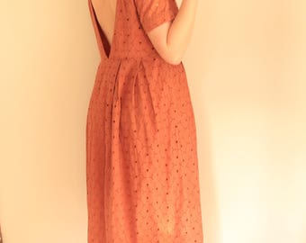 Beautiful Womens Peach Eyelet Cotton Lace Ankle Length Day Dress (AU 8-12)