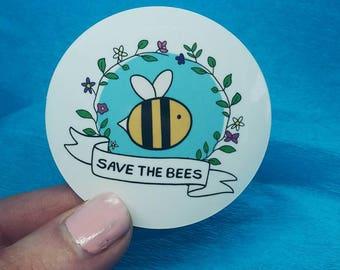 Save the Bees - Bee Stickers, Vegan Stickers, Notebook Stickers, Laptop Stickers, Bees, Vegan Accessories, Vegan Sticker