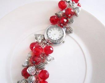 Red Watch Bracelet, Silver Charm Watch, Beaded Cluster Wrist Watch, Quartz Watch, Gift For Her