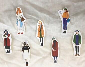 La Dolce Vita Stylish girl Artistic series A set of 7 stickers