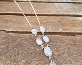 Rainbow Moonstone Y Necklace