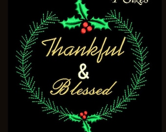 Thankful & Blassed machine embroidery design christmas instant digital download pattern holiday designs hoop file towel