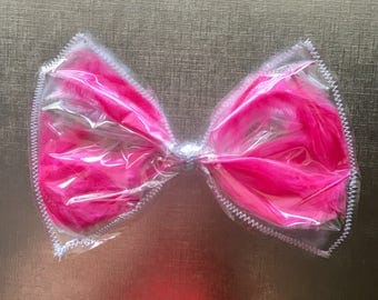 Pink Feather hair bow, Pink hair bow, giant hair bow, pink feather hair bow, see-thru hair bow, plastic hair bow, toddler hair bow, hair bow