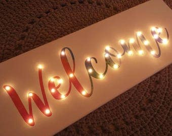 Light Up Welcome Sign, Entryway Decoration, Welcome Decoration, Light Up  Letters, Rainbow