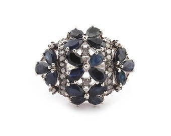 50% off 1 PC Pave Diamond With Iolite Gemstone Ring - 925 Sterling Silver Designer Diamond Ring - Ring Size - 5.5 PDJ066