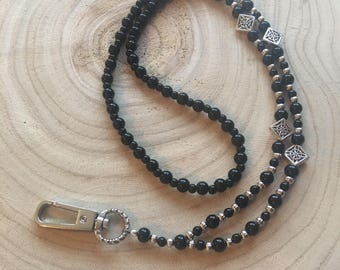 Black and Silver Beaded Lanyard / Badge Holder / ID Holder / Teacher Lanyard