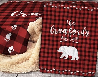 Personalized Blanket - Bear and Buffalo Check Sherpa Throw Blanket -  Outdoor Rustic Blanket - Buffalo Plaid Blanket - Personalized Blanket