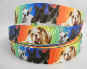 "Bulldog Breed Dog & Puppies on Multi Color  7/8"" Grosgrain Ribbon by the yard. Choose between 3/5/10 yards."