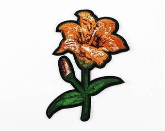 orange flower applique iron on patch sew on patch