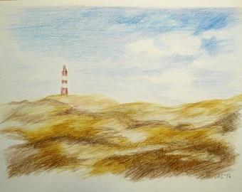 Lighthouse on Amrum, North Sea, 14,8 x 21 cm