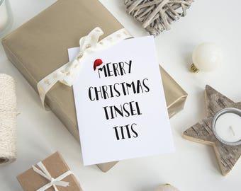 Merry Christmas Tinsel Tits Greeting Card - Christmas Card, Xmas Card, Tinsel Card, Funny Christmas Card, Funny Xmas, Rude Card