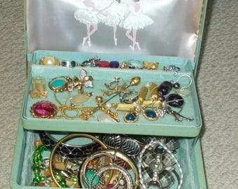 Vintage 1950's Farrington Texol Jewelry Box Filled With Costume Jewelry Two Tiered Fabric Lined With Balerina Artwork On Inside