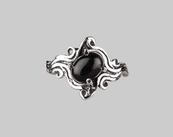Sterling silver black onyx ring - gothic ring - festival ring - witchy