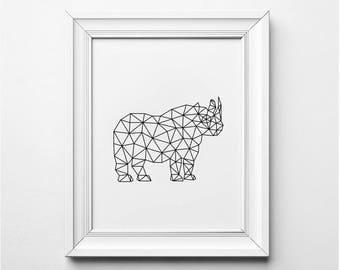 Rhino Illustration, Modern Wall Art, Origami Rhino, Geometric Rhino Art Print, Printable Rhino, Rhino Nursery Art, Black and White Art