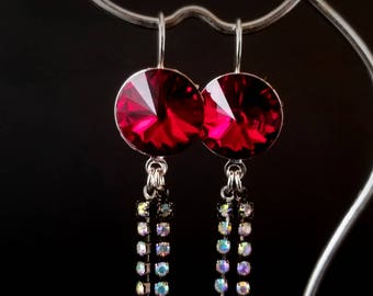 Red Swarovski earrings with AB crystal dangles