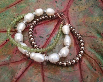 3 strand Peridot and Freshwater Pearl Bracelet