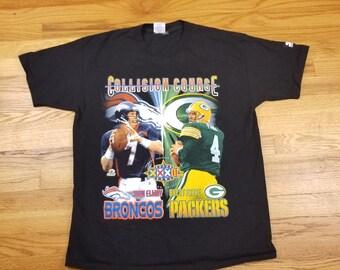 Vintage 90s John Elway and Brett Farve Denver Broncos vs Green Bay Packers Super Bowl XXXII Starter Shirt Size L