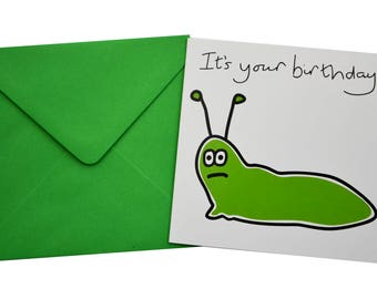 SINGLE BUG/INSECT birthday card with coloured envelope
