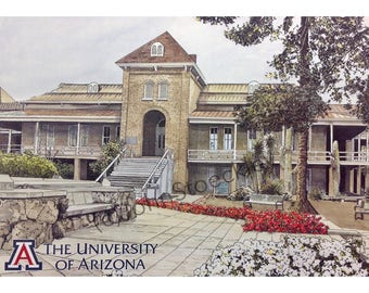 University of Arizona LIMITED EDITION Pen and Ink and Watercolor Art Print Illustration - Graduation Gift, Alumni
