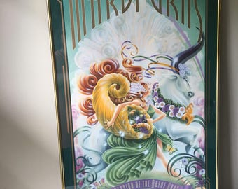 Vintage 1994 Mardi Gras framed poster-1994-Gold metal Frame-Signed by artist-Fat Tuesday-New Orleans Louisiana-wall art-wall hanging-green