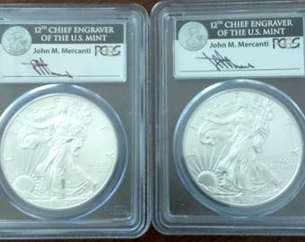 PAIR - 2014 American Silver Eagles PCGS MS69, MS70 Signed