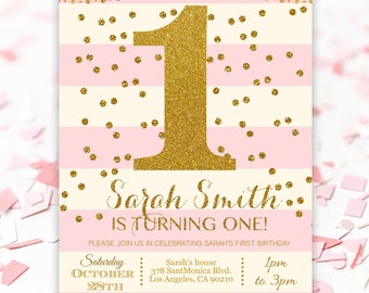Pink and gold first birthday invitations - Pink Gold 1st Birthday Party - Pink Striped and Gold Confetti Birthday Invitation #GP1STGPG