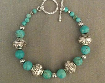 Southwestern turquoise and silver bracelet